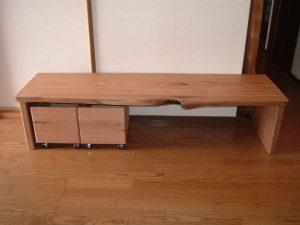胡桃の文机と収納箱