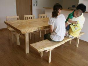 トチ一枚板ダイニングテーブルセット
