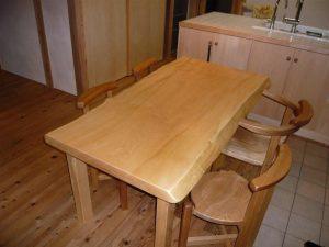 栃一枚ダイニングテーブルセット