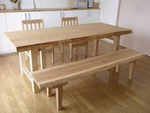 タモ一枚板ダイニングテーブル、ベンチ、ダイニングチェアーC