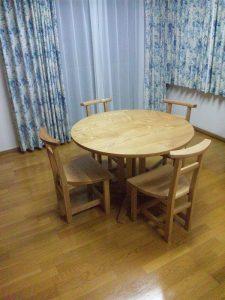 無垢丸テーブルセット