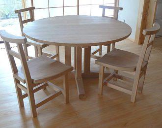無垢丸テーブル集中脚