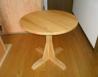 無垢丸テーブル1本脚