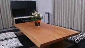 座卓欅2枚接ぎ天板と欅板脚